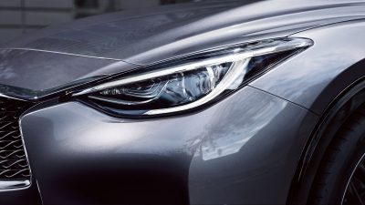 Hatchback LED headlights closeup