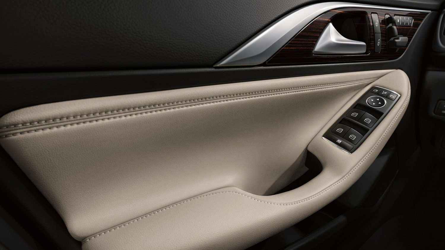 beige leather door lining of luxury car