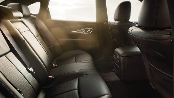 Black leather interior in luxury sedan - back seats