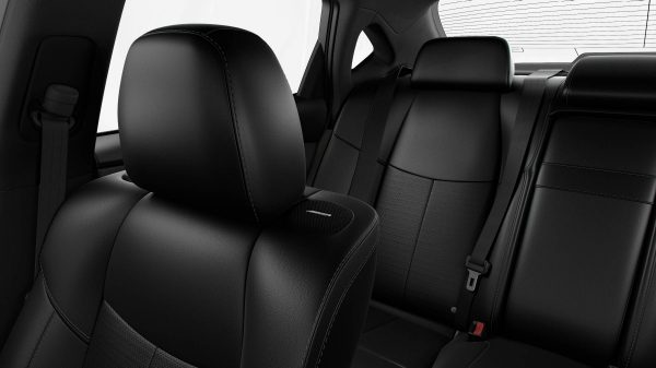 Black leather seats - luxury car interior closeup