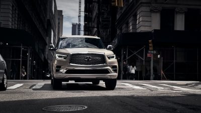 2019 INFINITI QX80 SUV Front Profile on Zebra Crossing