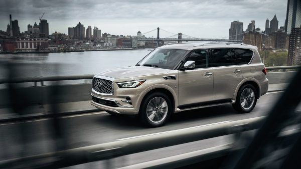 2020 INFINITI QX80 Exterior Driving on Bridge