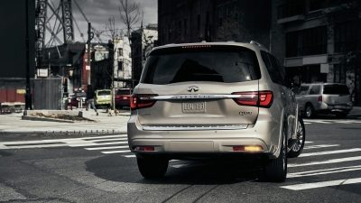 2020 INFINITI QX80 SUV From Behind Turning Corner