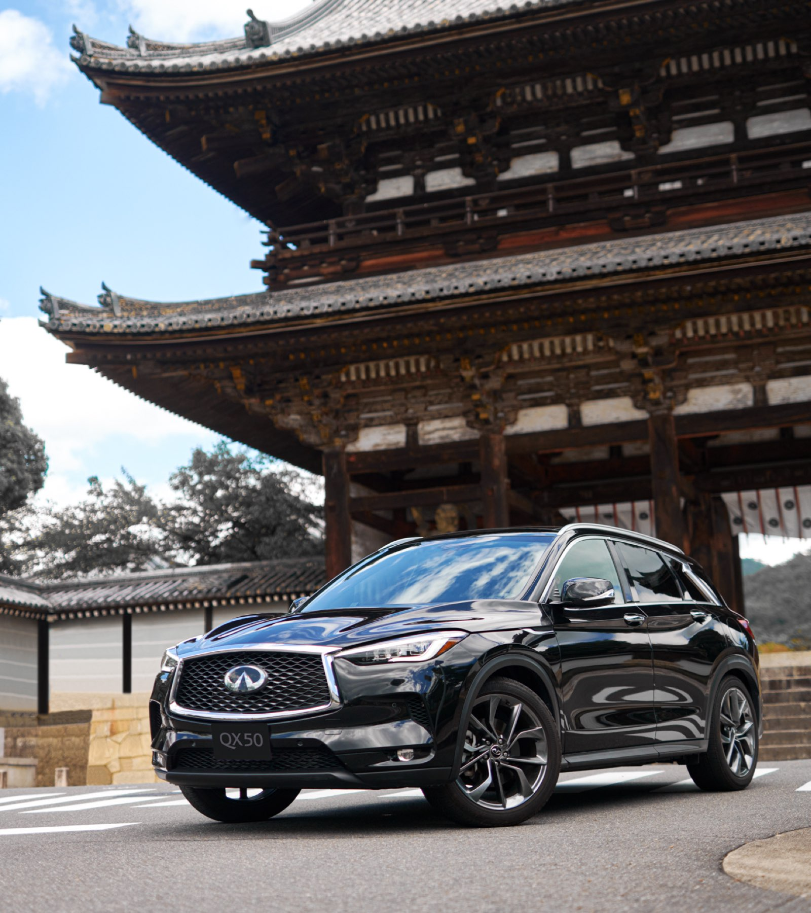 2021 INFINITI QX50 and Japanese Temple