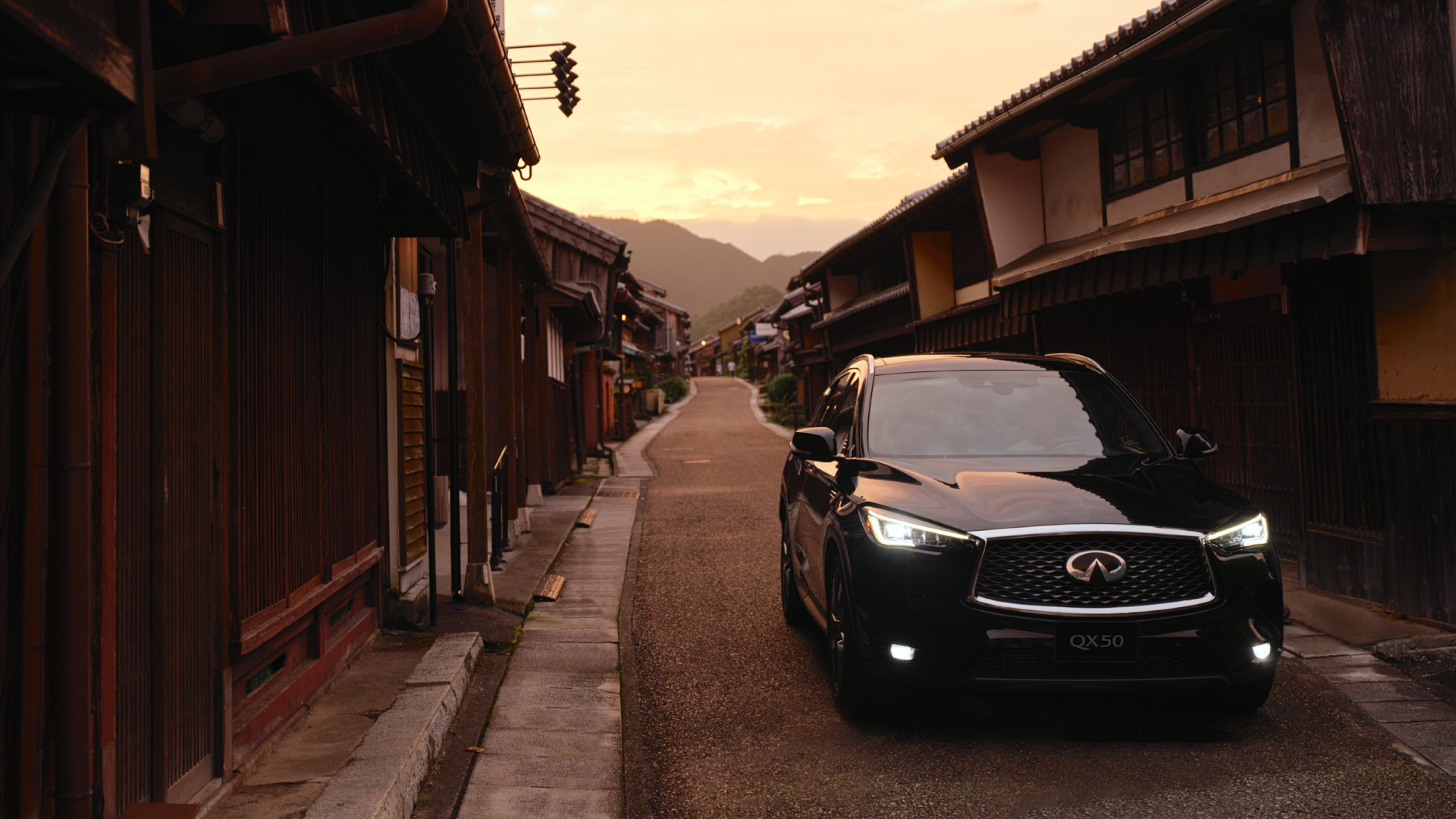 2021 INFINITI QX50 through Kyoto streets