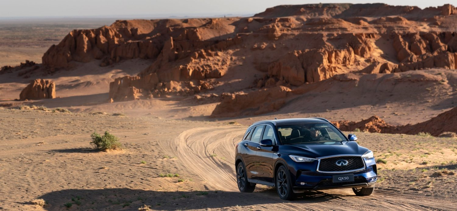 INFINITI QX Series Travel Long Distance in Gobi Desert