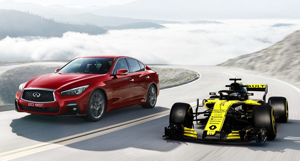 Infiniti Q60 and to Renault F1 side by side