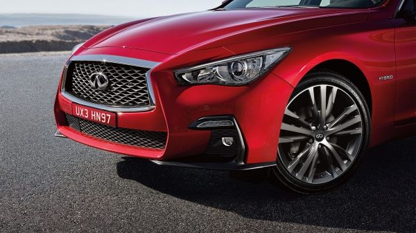 INFINITI Q50 in red front of vehicle hood