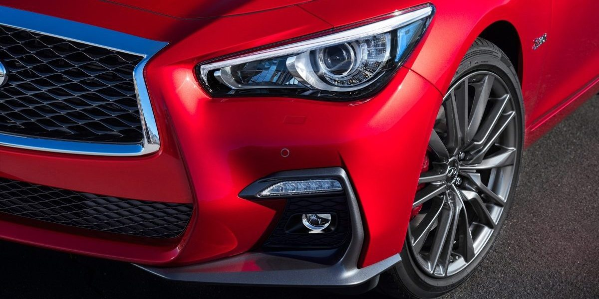 2018 INFINITI Q50 Red Sport Sedan Design Gallery | Signature Double Arch Grille and LED Headlights