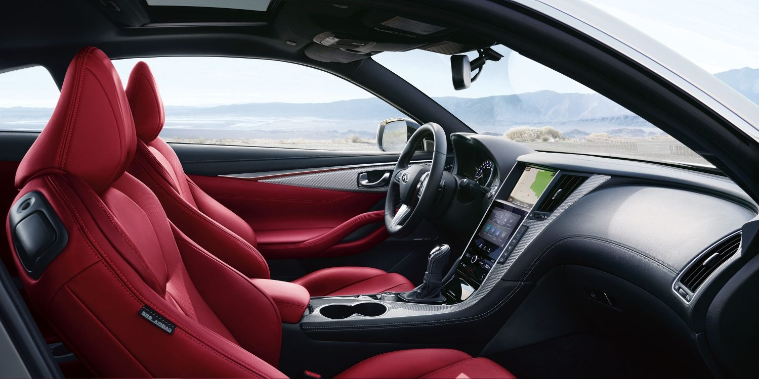 2018 INFINITI Q60 Red Sport 400 Sports Coupe Design | Monaco Red Semi-aniline Leather Seating Highlighting 8-way Power Sport Type Front Seats