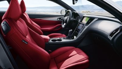 Red leather interior of a sports car