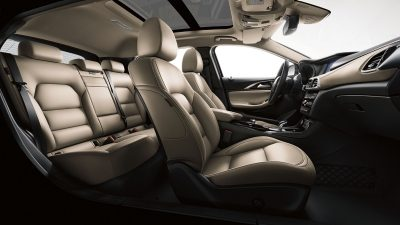 Beige interior seats of luxury car