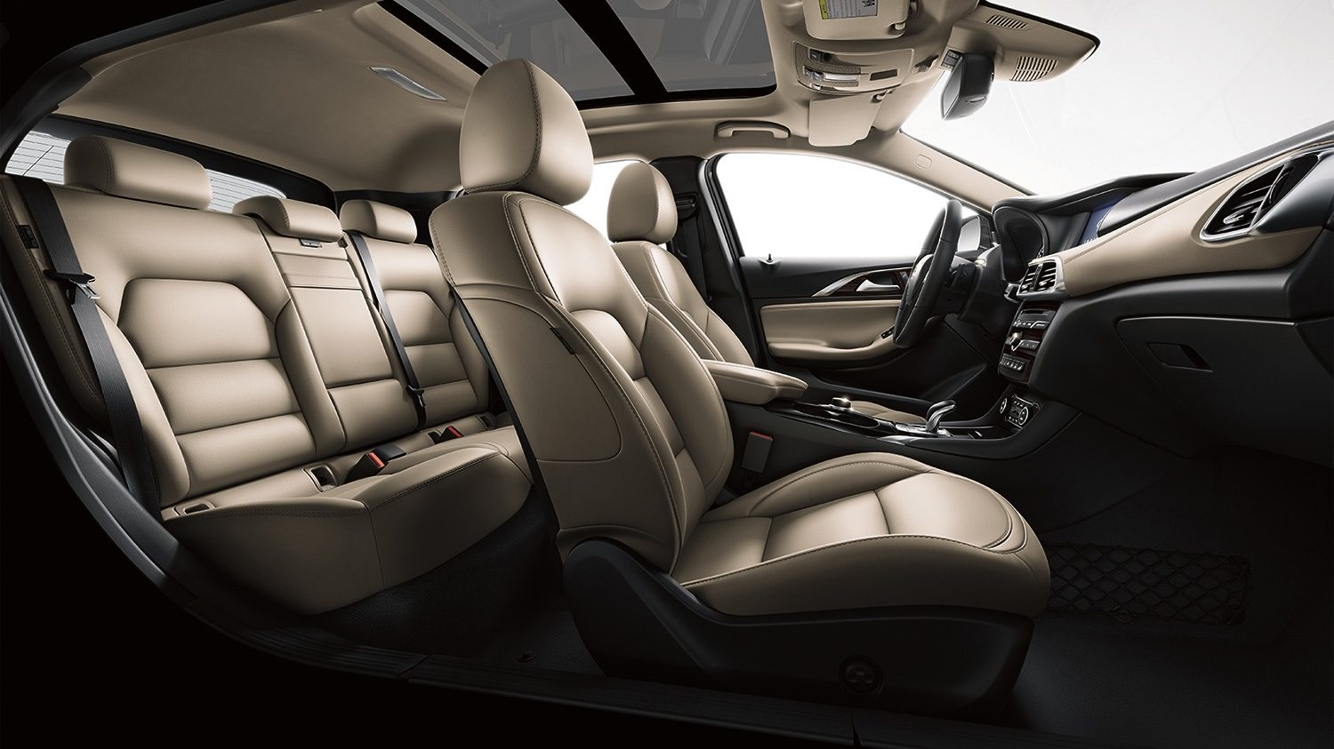 Luxury beige leather seats in car interior